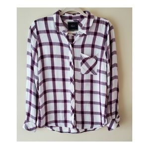 Rails Plaid White Button Down Size S